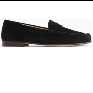Black suede J crew loafers
